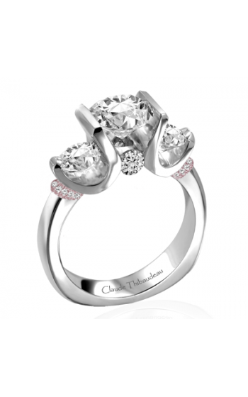Claude Thibaudeau European Micro-Pave Engagement ring PLT-1858R-MP product image