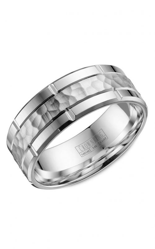 CrownRing Classic and Carved Wedding Band WB-040C8W product image