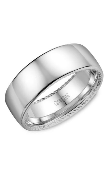 Crown Ring Men's Wedding Band WB-012R8W product image