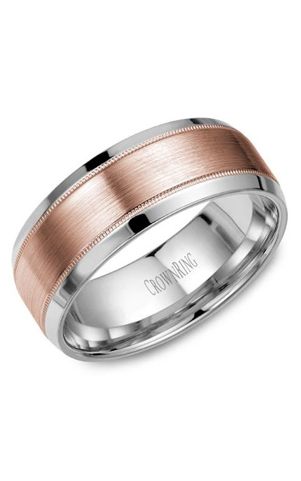 Crown Ring Men's Wedding Band WB-8108RW product image