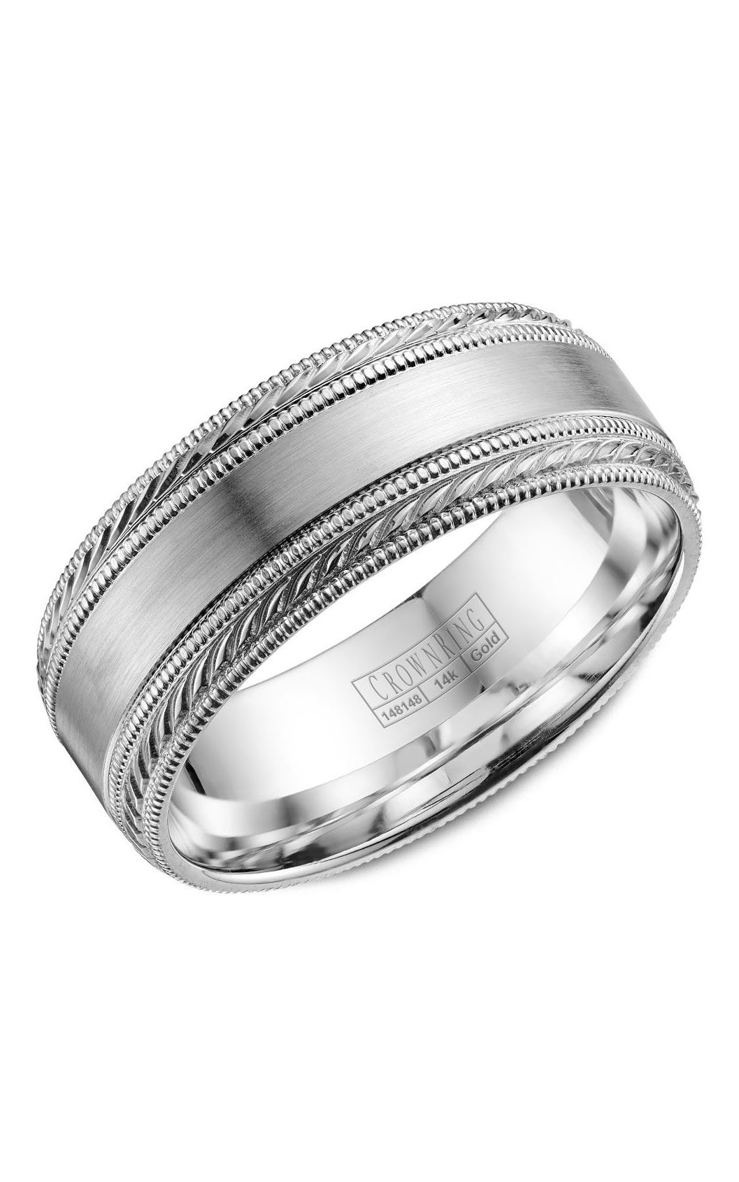 Crown Ring Men's Wedding Band WB-034C8W product image