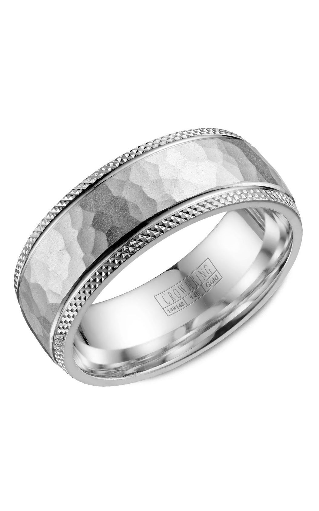 CrownRing Classic and Carved Wedding Band WB-035C8W product image