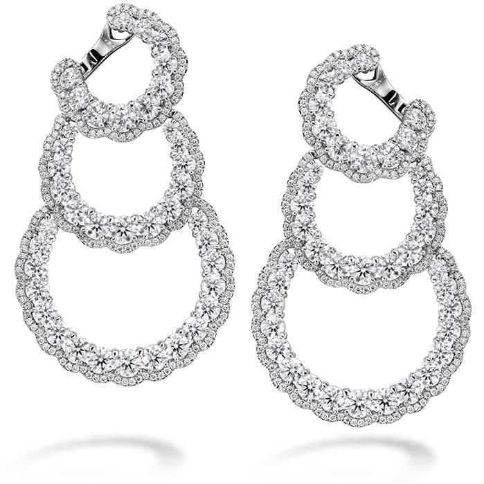 13.84 ctw. Aurora Triple Tier Hoop Earrings in Platinum product image