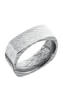 Lashbrook Damascus Steel Wedding band D8FSQZEBRA POLISH product image