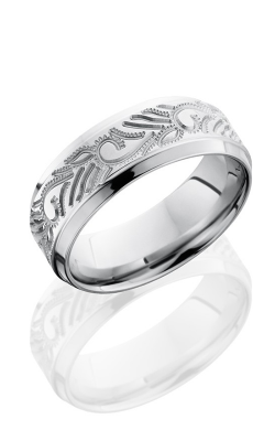 Lashbrook Cobalt Chrome Wedding band CC8BCURLYVINE BEAD-POLISH product image
