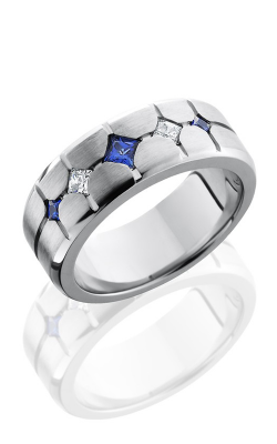 Lashbrook Cobalt Chrome Wedding band CC8BSEGSAPPHDIAPOINT SATIN product image