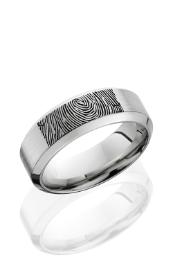 Lashbrook Cobalt Chrome Wedding Band CC8HB/LCVFINGERPRINT SATIN-POLISH product image