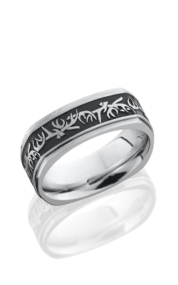 Lashbrook Cobalt Chrome Wedding Band CC8FGESQ/LCVANTLER SATIN-POLISH-BLACK E-COAT product image
