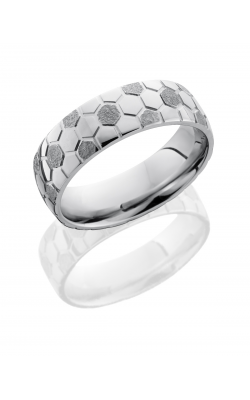 Lashbrook Cobalt Chrome Wedding Band CC7D SOCCER STIPPLE-POLISH product image