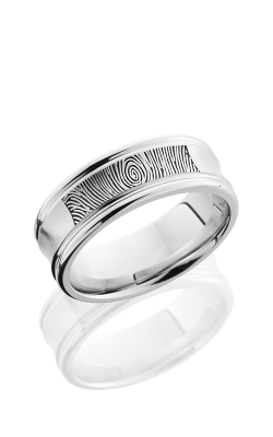 Lashbrook Cobalt Chrome Wedding Band CC8REC/LCVFINGERPRINT SATIN-POLISH product image