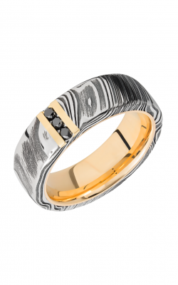 Lashbrook Damascus Steel Wedding Band 14KYSLEEVED7D14VERTWOODGRAIN_14KYBLKDIA3X.03CH product image