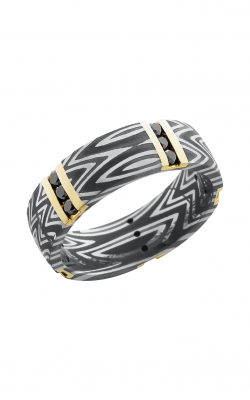Lashbrook Damascus Steel Wedding band D7D14VERT5XZEBRA 14KYBLKDIA15X.04CH product image