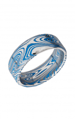 Lashbrook Damascus Steel Wedding Band D8BMARBLE+RIDGWAYBLUEALL product image