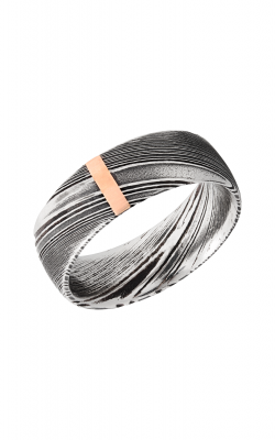 Lashbrook Damascus Steel Wedding Band D8D12VERTWOODGRAIN_14KR product image
