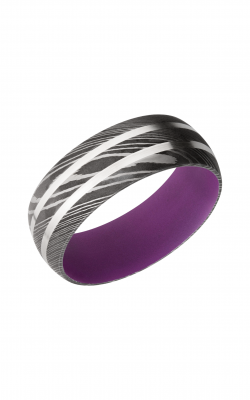Lashbrook Damascus Steel Wedding Band D8D21_SS+WILDPURPLEIN product image