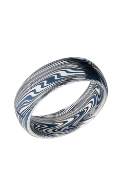 Lashbrook Damascus Steel Wedding Band D8DBMARBLE+RIDGEWAYBLUEALL product image