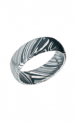 Lashbrook Damascus Steel Wedding Band D8DWOODGRAIN_CIVILDEFENSEBLUEALL product image
