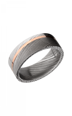 Lashbrook Damascus Steel Wedding Band D8F11ANGLED_14KR product image