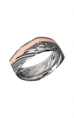 Lashbrook Damascus Steel Wedding Band D8FSQ12OCWOODGRAIN_14KR product image
