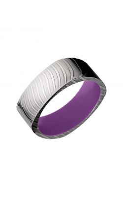 Lashbrook Damascus Steel Wedding Band D8FSQTIGER+WILDPURPLEIN product image