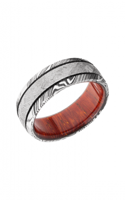 Lashbrook Hardwood Collection Wedding Band HWSLEEVED8D14WOODGRAIN_METEORITE_MGA_PADAUK product image