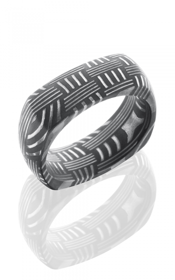 Lashbrook Damascus Steel Wedding band D8DSQBASKET ACID product image