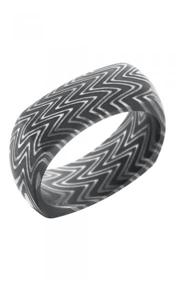 Lashbrook Damascus Steel Wedding band D8DSQZEBRA ACID product image