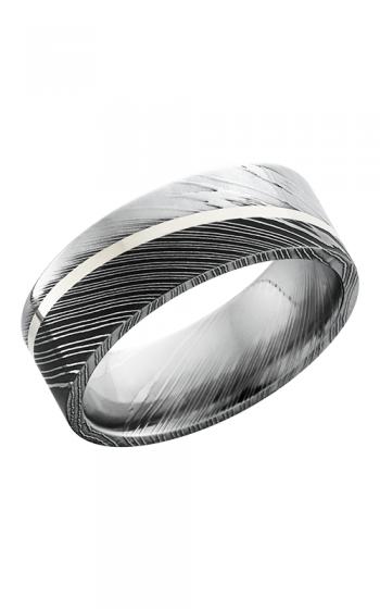 Lashbrook Damascus Steel Wedding band D8F11ANGLED SS ACID POLISH product image