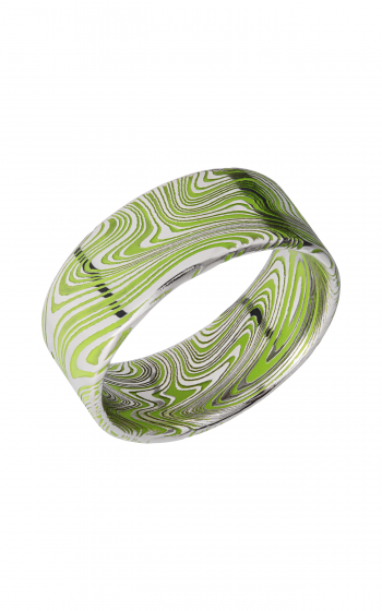 Lashbrook Damascus Steel Wedding band D9FRMARBLE_ZOMBIEGREENALL product image