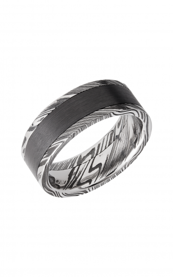 Lashbrook Damascus Steel Wedding band DPF8F15WOODGRAIN_ZIRCONIUM product image