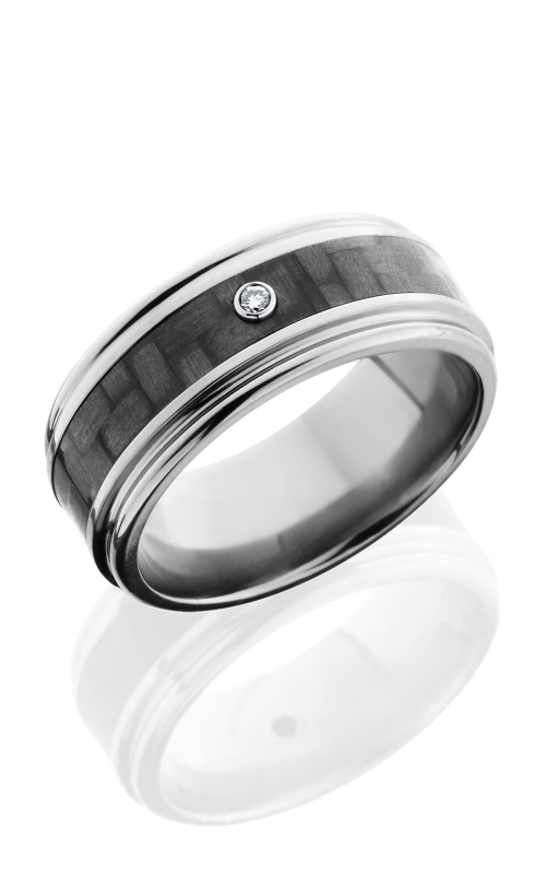 Lashbrook Carbon Fiber Wedding band C9REF14 CFDIA.03B POLISH product image