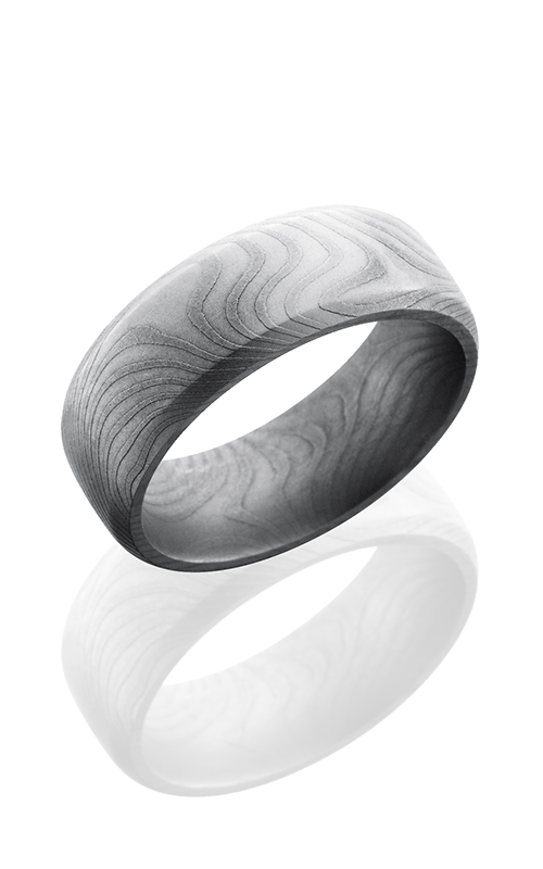 Lashbrook Damascus Steel Wedding band D8DBFLATTWIST BEAD product image