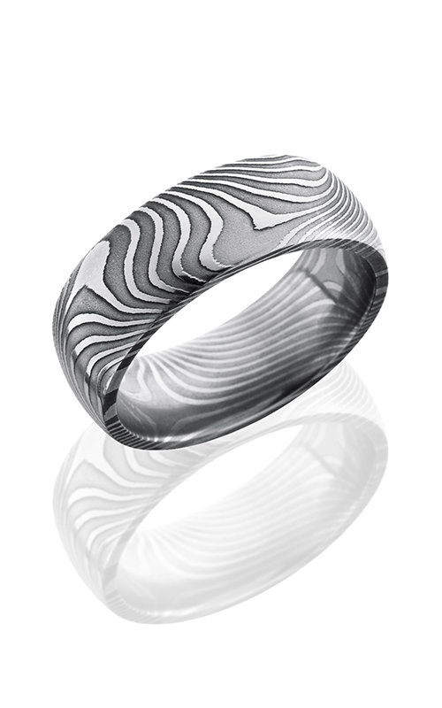 Lashbrook Damascus Steel Wedding band D8DFLATTWIST POLISH product image
