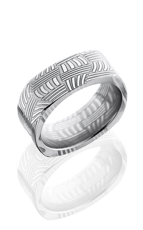 Lashbrook Damascus Steel Wedding band D8FSQBASKET POLISH product image