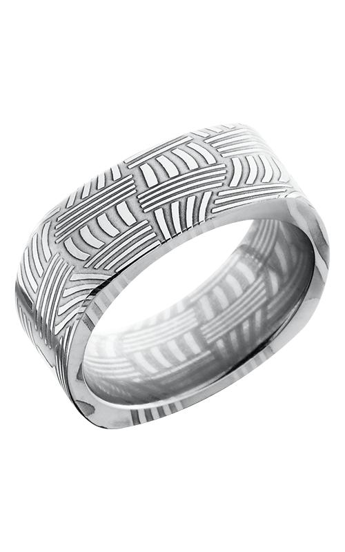 Lashbrook Damascus Steel Wedding band D8FSQBASKET POLISH product image