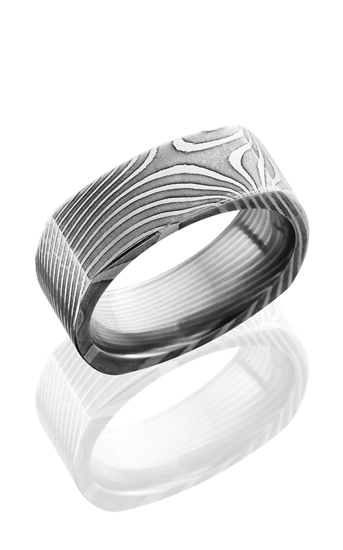 Lashbrook Damascus Steel Wedding band D8FSQFLATTWIST POLISH product image