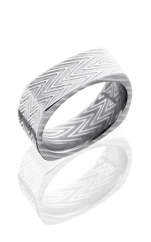 Lashbrook Damascus Steel Wedding band D8FSQZEBRA POLISH product image