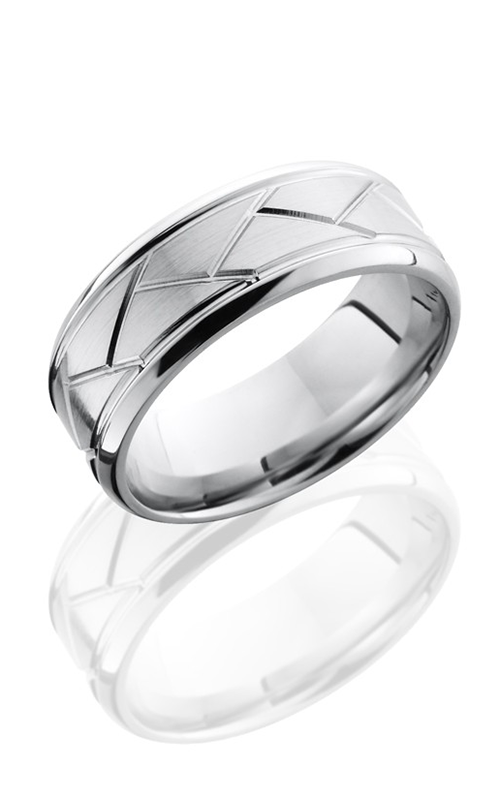 Lashbrook Cobalt Chrome Wedding band CC8BFLATWEAVE SATIN-POLISH product image