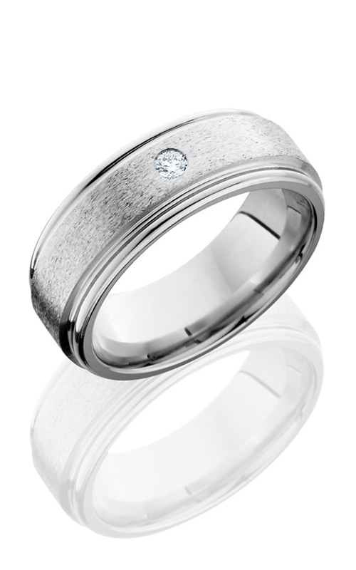 Lashbrook Cobalt Chrome Wedding band CC8REFDIA.07F STONE-POLISH product image