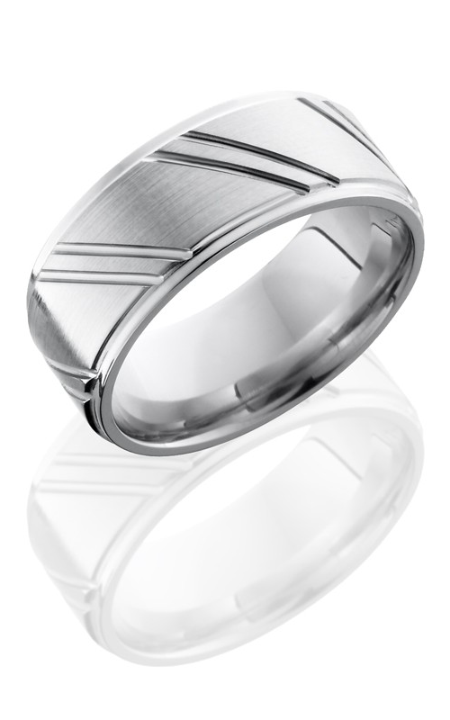 Lashbrook Cobalt Chrome Wedding band CC9FGESTRIPES SATIN-POLISH product image