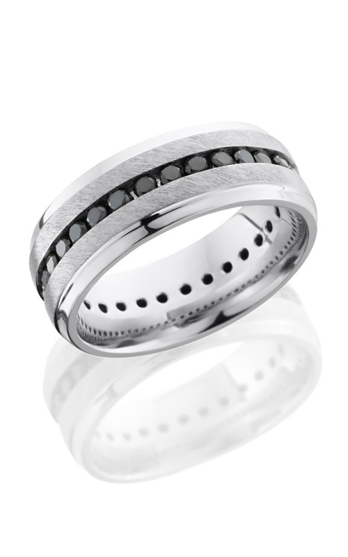Lashbrook Cobalt Chrome Wedding band CC8B S ETERNITYBLKDIA.04 ANGLE product image