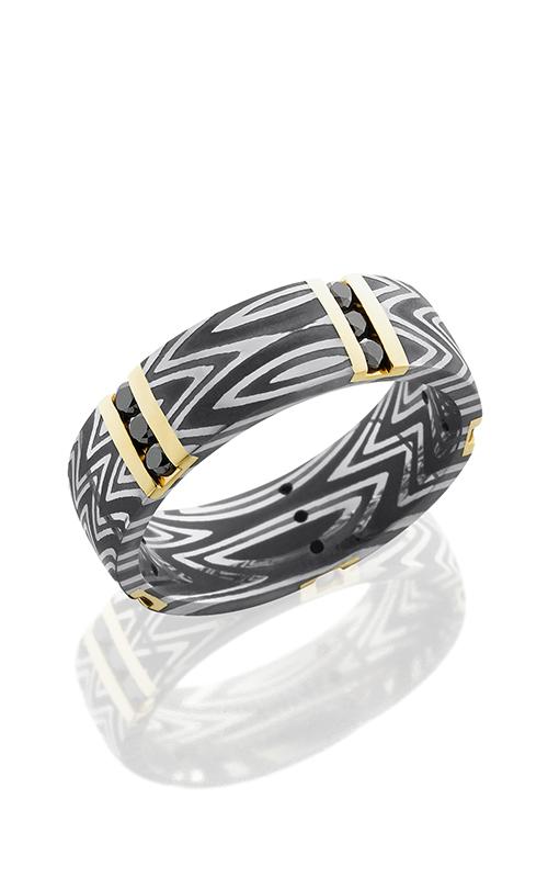 Lashbrook Damascus Steel Wedding band D8DZEBRA14VERT5X ACID product image
