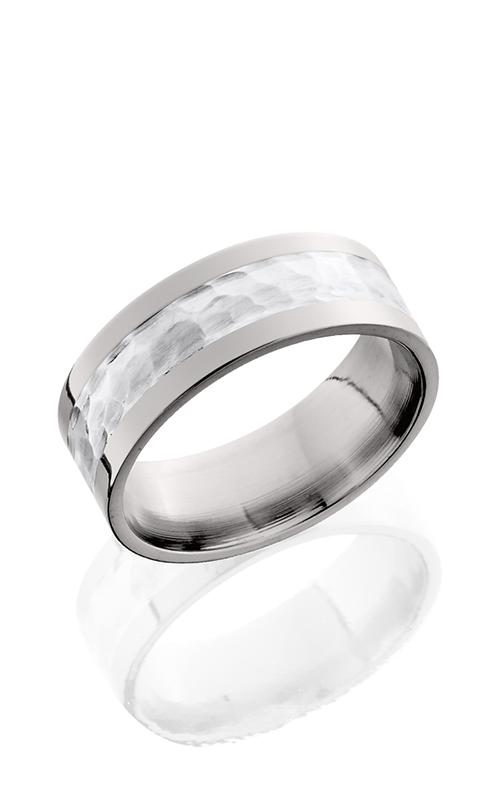 Lashbrook Titanium Wedding band 8F14 SS HAMMER POLISH product image
