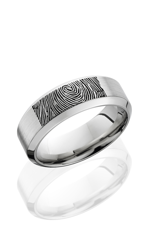 Lashbrook Cobalt Chrome Wedding band CC8HB LCVFINGERPRINT SATIN product image