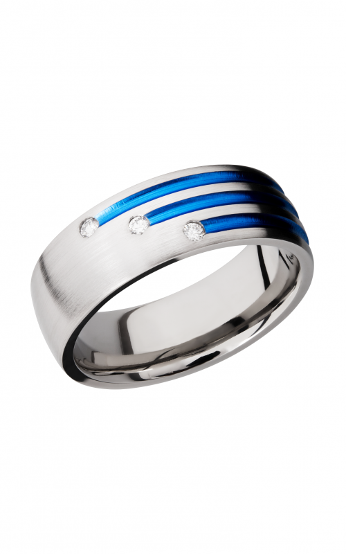 Lashbrook Titanium Wedding band 8DSTAGGERANODIA3X 03F BLUE product image