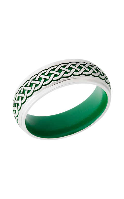Lashbrook Cobalt Chrome Wedding band CC7DGE_LCVCELTIC9_GREENINANDOUT product image
