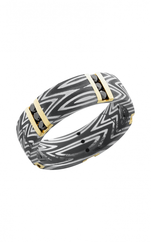 Lashbrook Damascus Steel Wedding band D7D14VERT5XZEBRA_14KYBLKDIA15X.04CH product image