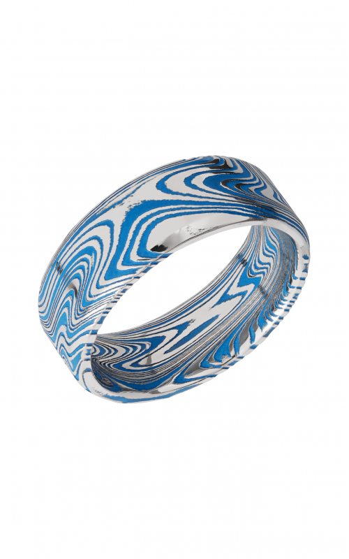 Lashbrook Damascus Steel Wedding band D8BMARBLE RIDGWAYBLUEALL product image