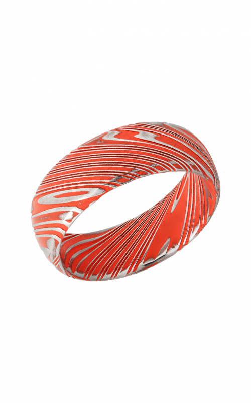 Lashbrook Damascus Steel Wedding band D8DBWOODGRAIN_HUNTERORANGEALL product image