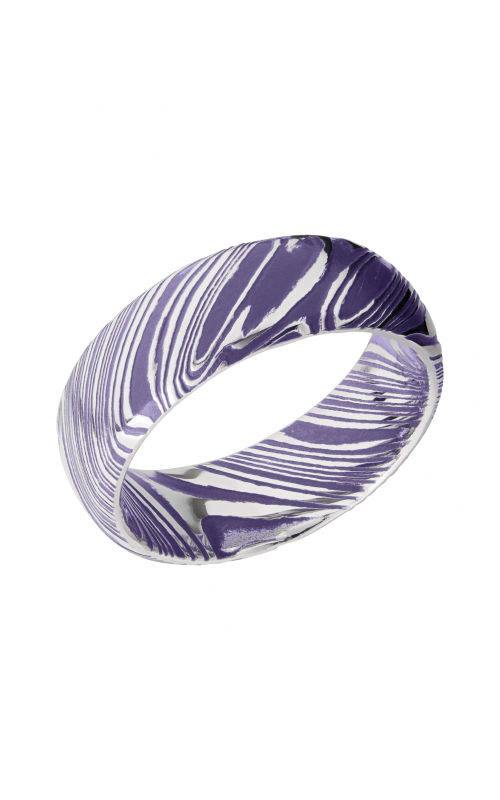 Lashbrook Damascus Steel Wedding band D8DWOODGRAIN_BRIGHTPURPLEALL product image